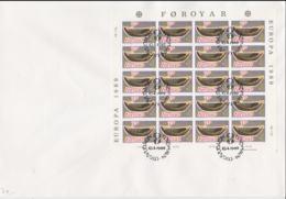 Faroe Islands FDC Europa CEPT Complete Sheet (L58-16) - 1989