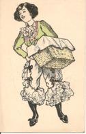 Illustrateur FEMME EN CULOTTE LIVRANT UN PAQUET Charme Deshabillé - 1900-1949