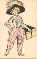 Illustrateur FEMME EN CULOTTE ET CHAPEAU LIVRANT UN PAQUET Charme Déshabillé - 1900-1949