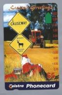 AU.- Telstra Phonecard $5. Season's Greetings. CAUSEWAY. BEWARE AROUND XMAS. Chrismas Gift Card. Australia. AUSTRALIË. - Navidad