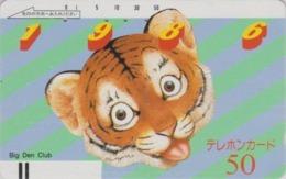TC Ancienne Japon / 110-3304 - Animal Félin Peinture TIGRE - 1986 YEAR OF THE TIGER Japan Front Bar Phonecard / A - 422 - Japón