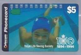 AU.- Telecom Phonecard $5. Royal Life Saving Society 1894-1994 . Australia. AUSTRALIË. - Deportes