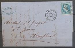 1870 Lettre LE HAVRE/BATEAU A VAPr, Càd + GC 1805 S/29, Salles N°313A, SUP X5112 - Poststempel (Briefe)