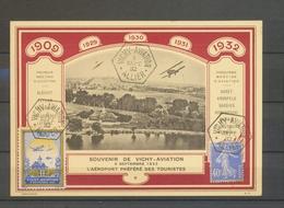 1932 Env. VICHY-AVIATION, Carte Spéciale Sur CARTON CHAMOIS, Superbe X5181 - Storia Postale