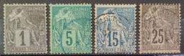 COLONIES FRANCAISES 1881 - Canceled - YT 46, 49, 51, 53 - 1c 5c 15c 25c - Alphee Dubois