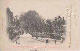 CPA Précurseur Villefranche-de-Rouergue - Le Pont National Et La Promenade Guiraudet (animation Pendant Un Jour De Fête) - Villefranche De Rouergue