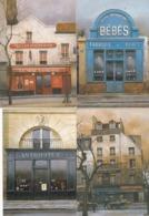 Lot 18 CPM 10X15 .devantures De Magasins (dont Cartier, Chanel, Bertillon ) Illust .André RENOUX - Negozi