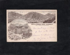 Andermatt 1896 - HOTEL & PENSION KRONE, ANDERMATT - Divers Cachets Et Timbre (voir Descriptif) - Suiza