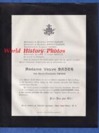 Document Ancien De 1914 - BAR LE DUC (Meuse) - Marie Françoise AMANN , Veuve BADER - 6 Place Saint Pierre - Avvisi Di Necrologio