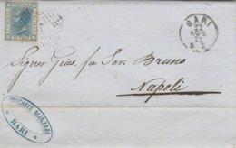 Bari. 1874. Annullo  Numerale Piccolo Cerchio A Punti, Su Lettera Affrancata Completa Di Testo - 1861-78 Vittorio Emanuele II