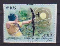 ITALia 2011 CAMPIONATI EUROPEI CON TIRO CON L'ARCO SASS. 3267 USATO VF SU FRAMMENTO - 6. 1946-.. Repubblica