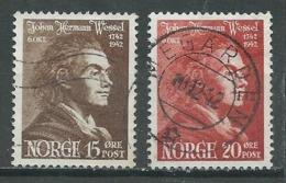 Norvège YT N°242/243 Johan Herman Wessel Oblitéré ° - Norway