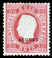 !■■■■■ds■■ Azores 1885 AF#58* Straight Label Type D 20 Réis 12,5 (x12757) - Azores