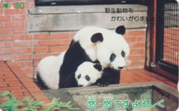 Télécarte Japon / 110-011 - ANIMAL -  PANDA / Mère & Son Bébé - Japan Phonecard - PANDABÄR Telefonkarte - BE 539 - Japon