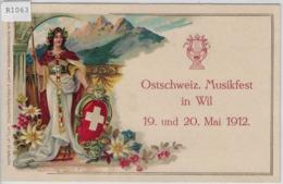 Ostschweiz. Musikfest In Wil SG 19. Und 20. Mai 1912 - Präge Relief Karte - SG St. Gall