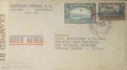 O) 1942 CIRCA - COSTA RICA, COLUMBUS AT CARIARI 20c, NATIONAL STADIUM SOCCER CHAMPIONSHIP 25c. CENSORSHIP AIRMAIL - AGEN - Costa Rica