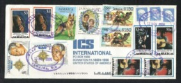 Jamaica Air Mail Postal Used Cover Jamaica To USA Dog Animal Space Prince Diana Olympics Game Music - Jamaica (1962-...)