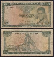SAMBIA - ZAMBIA 2 Kwacha Banknote (1968) VG (5) Pick 6a   (21119 - Bankbiljetten