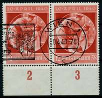 DEUTSCHES REICH 1940 Nr 744 Zentrisch Gestempelt WAAGR PAAR X87C3F6 - Duitsland