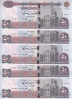 EGYPT 50 POUNDS EGP 2018 P-66 New SIG/T.A 24 LOW SERIAL 0000XXX LOT X5 UNC NOTES - Aegypten