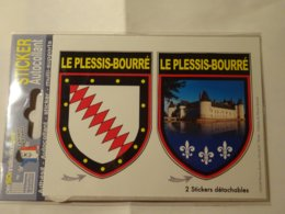 Carte Blason Blasons écusson Adhésif Autocollant Coat Of Arms Le Plessis Bourré (Maine Et Loire) - Recordatorios