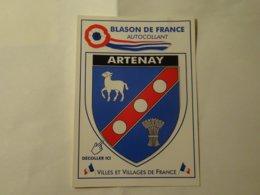 Blason écusson Adhésif Autocollant Coat Of Arms Artenay - Obj. 'Souvenir De'