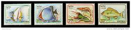 Eritrea 1995 ( Fishes - Horned Butterflyfish, Gonochaetodon Larvatus & Shrimps ) - Complete Set - MNH (**) - Eritrea