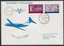 Romania 1973 First Flight  SAS DC-9 Bucarest - Copenhagen - Cartas