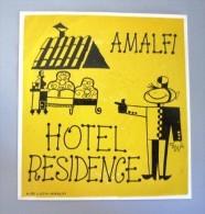 HOTEL PENSIONE ALBERGO RESIDENCE AMALFI ITALIA ITALY DECAL STICKER LUGGAGE LABEL ETIQUETTE AUFKLEBER - Etiketten Van Hotels