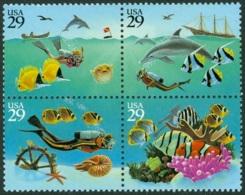UNITED STATES OF AMERICA 1994 WONDERS OF THE SEA BLOCK OF 4** (MNH) - Nuovi