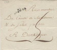1793- Lettre De ST OMER ( Pas De Calais ) 23 X 7 Mm Noir Taxe 5 D Pour Dunkerque - Marcofilia (sobres)
