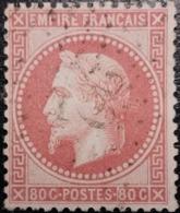 FRANCE Y&T N°32a Napoléon 80c Rose Carminé. Oblitéré étoile De Paris N°22 - 1863-1870 Napoleon III With Laurels