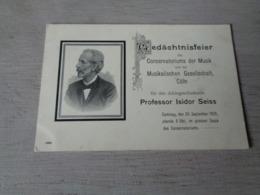 Carte ( 407 )  Thème  :  Musique  Muziek  -  Conservatoriums Der Musik  Professor Isidor Seiss - Music And Musicians