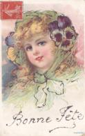 CPA - Fantaisie - Enfant - Bonne Fête - Paillettes - Portraits