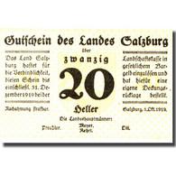 Billet, Autriche, Salzburg, 20 Heller, Valeur Faciale, 1919 SPL Mehl:FS 860I - Autriche