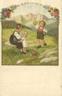 Illustrateur Enfants Jouant Et Ramassant Des Fleyrs Dans Une Prairie Montagneuse RV Timbre 40c + Vignette Vivre - Scènes & Paysages