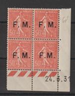 France FM 6 Coin Daté 1931 Avec 6c M Rapproché ** MNH - Franchise Stamps