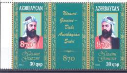 2011. Azerbaijan, Nizami, Poet,  On English, 2v + Label, Mint/** - Aserbaidschan