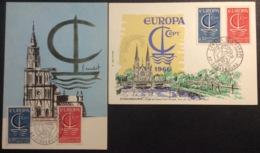 CM752 Europa Conseil De L'Europe Strasbourg 24/9/1966 Lot 2 Carte Maximum 1490 1491 - Maximumkarten