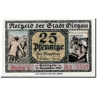 Billet, Allemagne, Glogau Stadt, 25 Pfennig, Monument, 1920, 1921-12-31, SPL - Allemagne