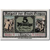 Billet, Allemagne, Glogau Stadt, 5 Pfennig, Château, 1920, 1921-12-31, SPL - Andere