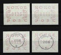 NORWEGEN 4 Werte ATM Postfrisch Und Gestempelt - Vignettes D'affranchissement (ATM/Frama)