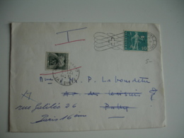 Lettre Taxee Timbre Taxe 0.5 Gerbe Gerbes Provenance Suisse - 1921-1960: Modern Period