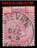 """COB N° 38 - Oblitération """"BIEVRE"""" + Défauts D'Impression - 1869-1883 Léopold II"""
