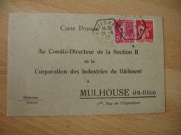 Lot De 2 Eguisheim  Recette Auxiliaire Cachet Hexagonal Sur Lettre - 1921-1960: Modern Period