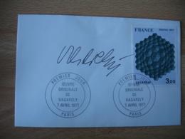 Signature Vasarely Sur Enveloppe Obliteration 1 Er Jour - 1961-....