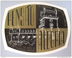 HOTEL PENSAO RESIDENCIAL PENSION ALEGRIA LISBOA TAG DECAL STICKER LUGGAGE LABEL ETIQUETTE AUFKLEBER PORTUGAL - Etiketten Van Hotels
