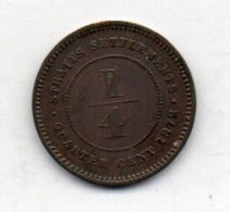 BRITISH INDIA - STRAITS SETTLEMENTS, 1/4 Cent, Copper, 1872, KM #7 - Indien