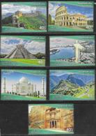 JORDAN, 2019, MNH, NEW 7 WONDERS,  MACHU PICCHU, PETRA, RIO, COLISSEUM, GREAT WALL OF CHINA, MOUNTAINS, CHICHEN ITZA,7v - Monuments
