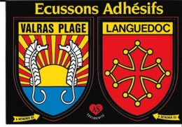 Carte Postale Blason Adhésif Valras Plage + Languedoc - France